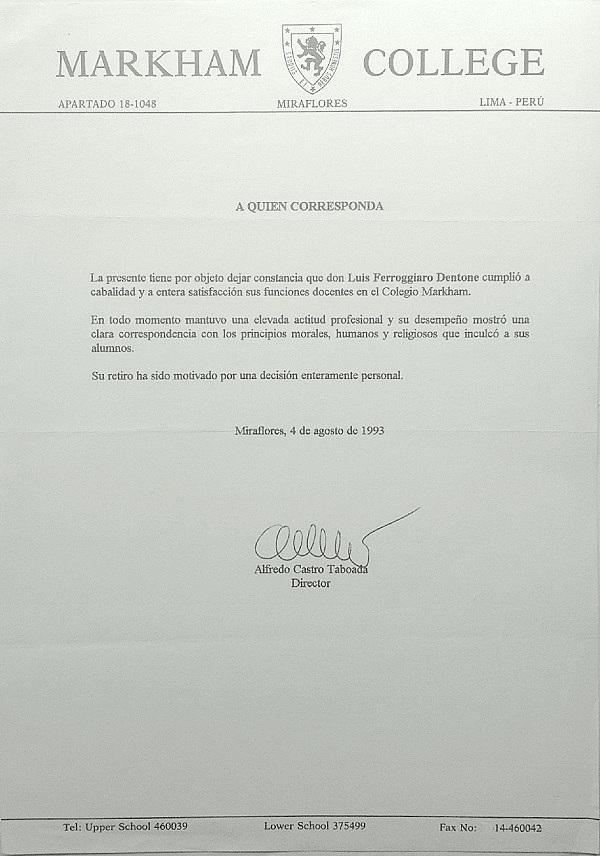 Documento emitido por el director del Colegio Markham en agosto de 1993