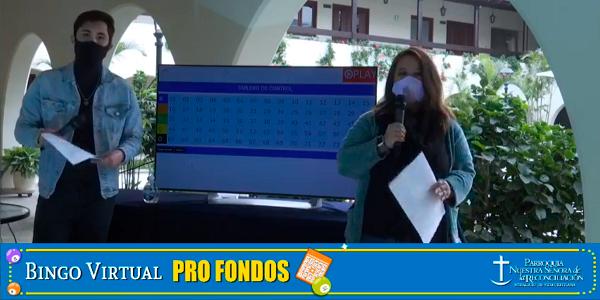 Captura de la transmisión Bingo Solidario online de la Parroquia Nuestra Señora de la Reconciliación
