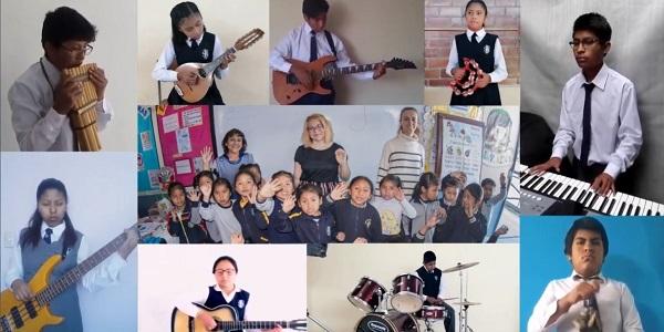 Mosaico de agradecimiento musical de alumnos del colegio San Juan Apóstol de Arequipa a los alumnos de Hope University